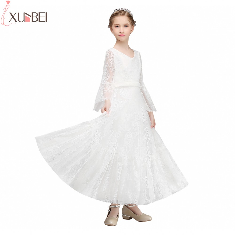In Stock Long Flare Sleeves Lace   Flower     Girl     Dresses   2019 Floor Length Communion   Dresses   For Kids Prom   Dresses   primera comunion