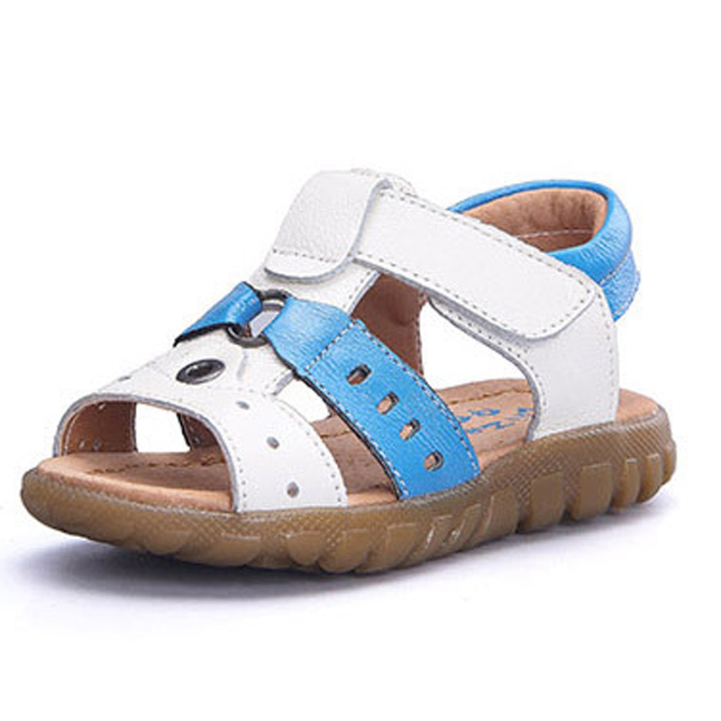 2018 New kids sandals comfy soft leather boys shoes open toe toddlers sandals hoop loop baby boys sandals shoes