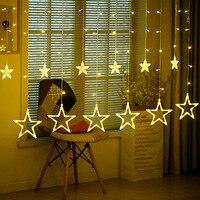 Romantic Fairy Star Led Curtain String 2M 138LED Light Warm White EU220V Battery Box Garland Light
