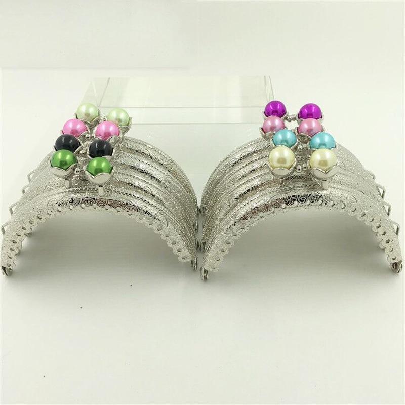 8.5cm Silver Color Colorful Beautiful Head Buckle Design Metal Girl Coin Bag Clasp DIY Purse Frame 10pcs/lot