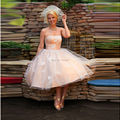Tea Length Plus Size Champagne Wedding Dresses 2016 Robe De Lace Up Back Lace Applique Strapless Sexy Short Bridal Dresses