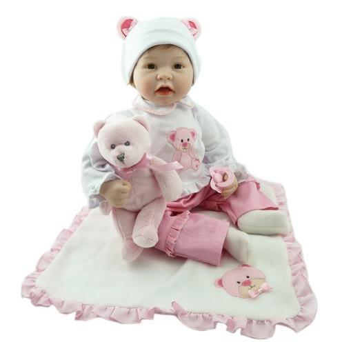 Так что по-настоящему Reborn дети 55 см BABY ALIVE Куклы Силиконовые сенсорный мягкая возрождается младенцев 22 бесплатная медведь подарки Реалисти...
