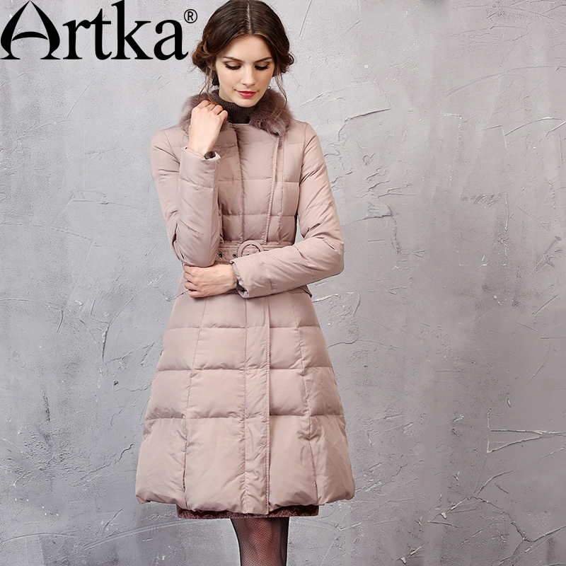 ARTKA Duck   Down     Coat   For Women Long Parka With Detachable Fur Female Warm Windbreaker With Belt Elegant Raincoat Women ZK10058D