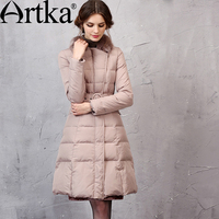 Artka Women S Winter New Solid Color Cinched Waist Down Coat Vintage Turn Down Collar Long