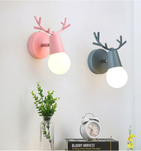 Nordic Adjustable LED Wall Lights Colorful Cartoon Deer Antlers Bedroom Reading Sconce Wall Mounted Children Room Lighting E27(China)