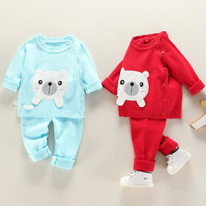 Image 3 - Infant Baby Clothes knitting Sweater Set Child Outerwear For Spring Autumn 2020 New Toddler O neck Flower Animal Clothing Suits