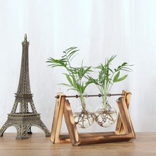 Health Creative Hydroponic Plant Transparent Vase Wooden Frame Coffee Shop Room Decr Glass Bottle +Wooden Display Frame 1O9(China)