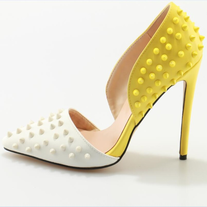 Yellow Stylish Rivet Woman High Heel Pumps Fashionable Pointed Toe Slip-On Shoes Normal Size Spring Autumn Dress Party Shoes