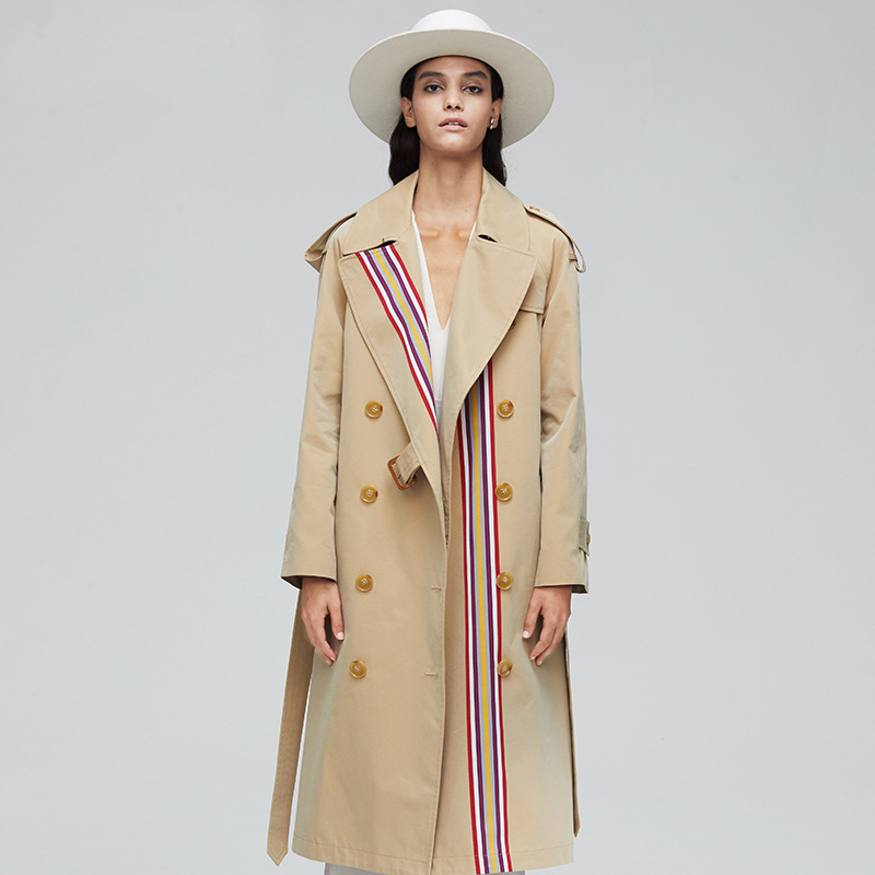 2019 Women Long   Trench   Coat Colorful Striped Double Breasted Coat   Trench   Women Cotton Overcoat British Style Slim Waist Topcoat