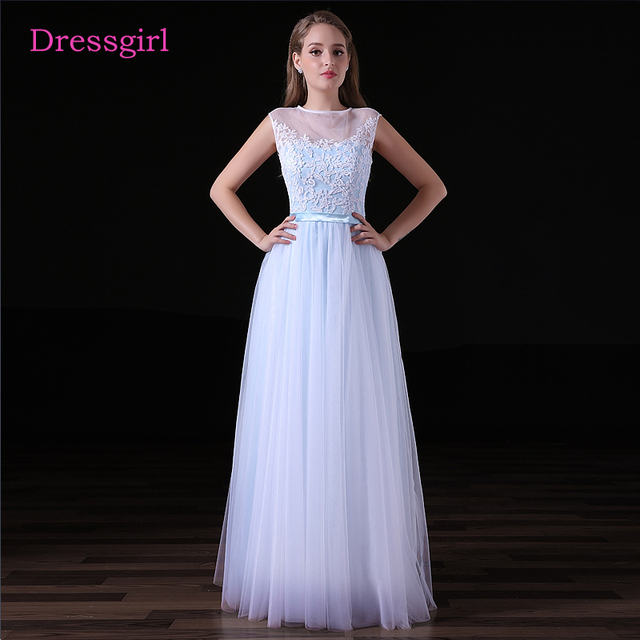 Sky Blue 2018 Cheap Bridesmaid Dresses Under 50 A Line Cap Sleeves Tulle  Lace See