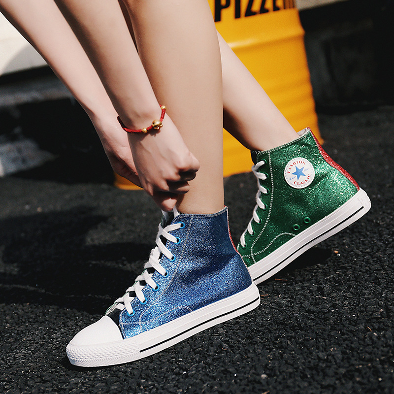Jookrrix 2018 Spring New Fashion Lady Glitter Shoes Hit Color Casual Shoe Women Bling High Top Shoe Girl Leisure Sneaker Sequins stylish women s hit color spaghetti strap blouse