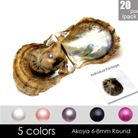 wholesale oyster vacuum packed 20pcs low price seawater 6 8mm Akoya round pearl, white pink purple,rose and black color
