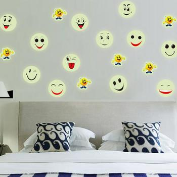 KAKUDER Wall Stickers 2018 Simple fashion creative personality smile face luminous stickers wall stickers May25