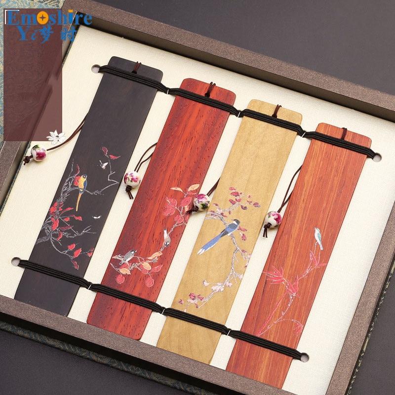 4 Piecs/lots Chinese Style Bookmarks Set Retro Wood Bookmarks Ebony Creative Graduation Gift Mahogany Bookmark Custom M014 epiphone ltd matt heafy signature les paul custom ebony