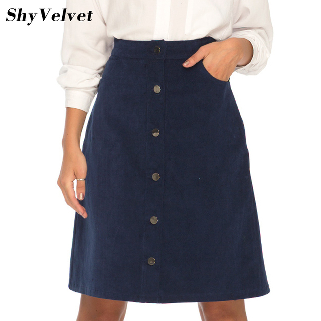 9db9661a2 Corduroy Skirt Vintage High Waist A Line Skirts Womens Fashion Streetwear  Metal Button Saia Midi Skirt 2017 New Autumn Jupe
