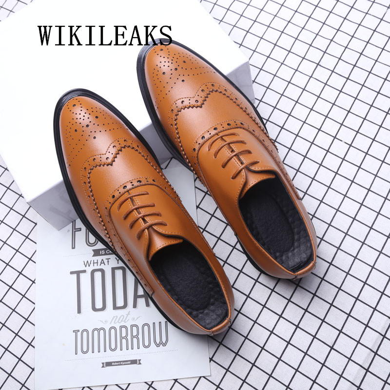 2018 italian brand brogues men shoes oxford shoes for men pointed toe platform dress shoes genuine leather formal wedding shoes швейная машинка brother x 8