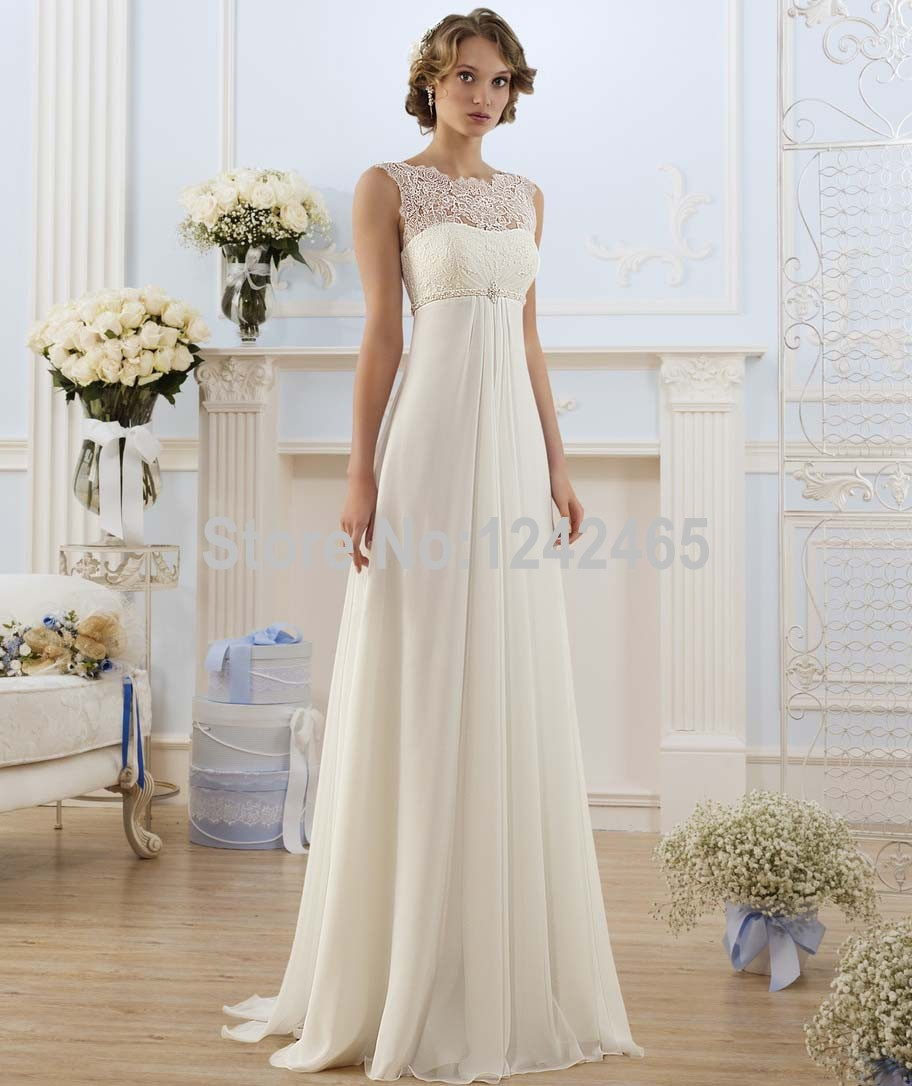 Sheath sleeveless top lace bridal gown beaded chiffon for White or ivory wedding dress