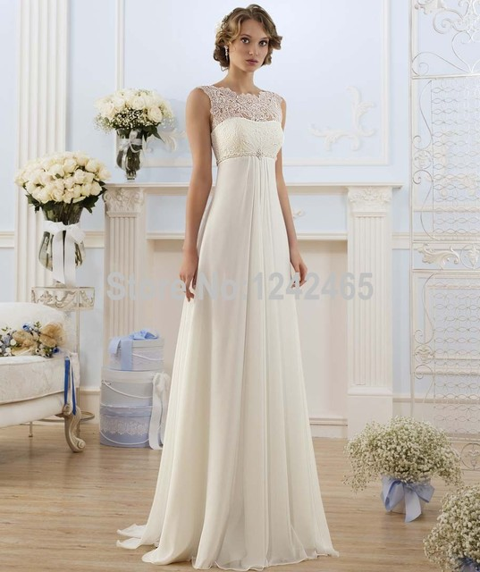 Sheath sleeveless top lace bridal gown beaded chiffon for Ivory beaded wedding dress