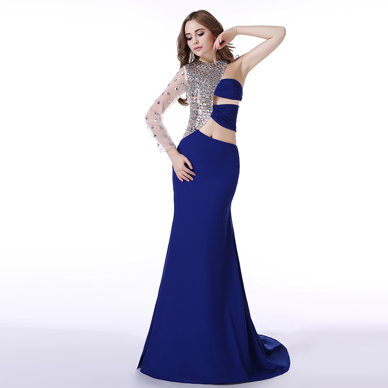 Real Picture Royal Blue Prom Dress New Style One Shoulder Sleeve