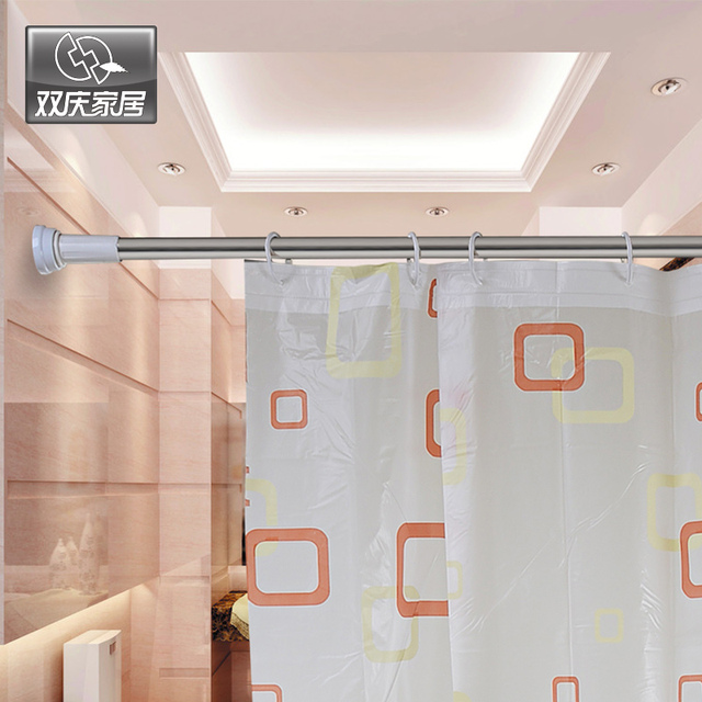 Retractable Shower Curtain Rod Straight Bathroom Pole Hole Digging