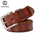 New arrival 2017 men belt genuine leather casual vintage belts pin buckle full grain cow leather brown cowhide straps TM008