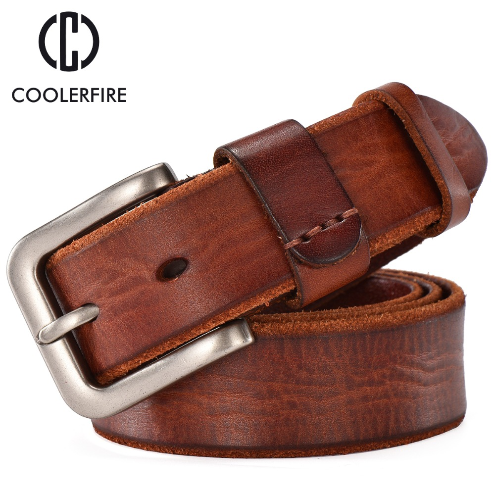 New arrival 2019 men belt genuine leather casual vintage belts pin buckle full grain cow leather brown cowhide straps TM008