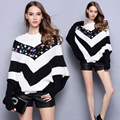 2016 autumn winter knitted oversized sweater fashion sequins stripe pullover women loose thicken bat style sweater pull femme