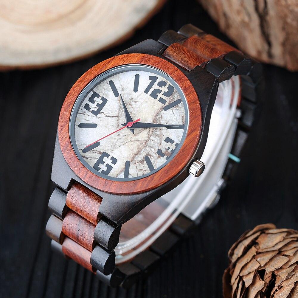 Montre en bois créative pour hommes cadeau moderne en bambou analogique décontracté Quartz fait à la main Simple pli fermoir chaud en bois Reloj de madera