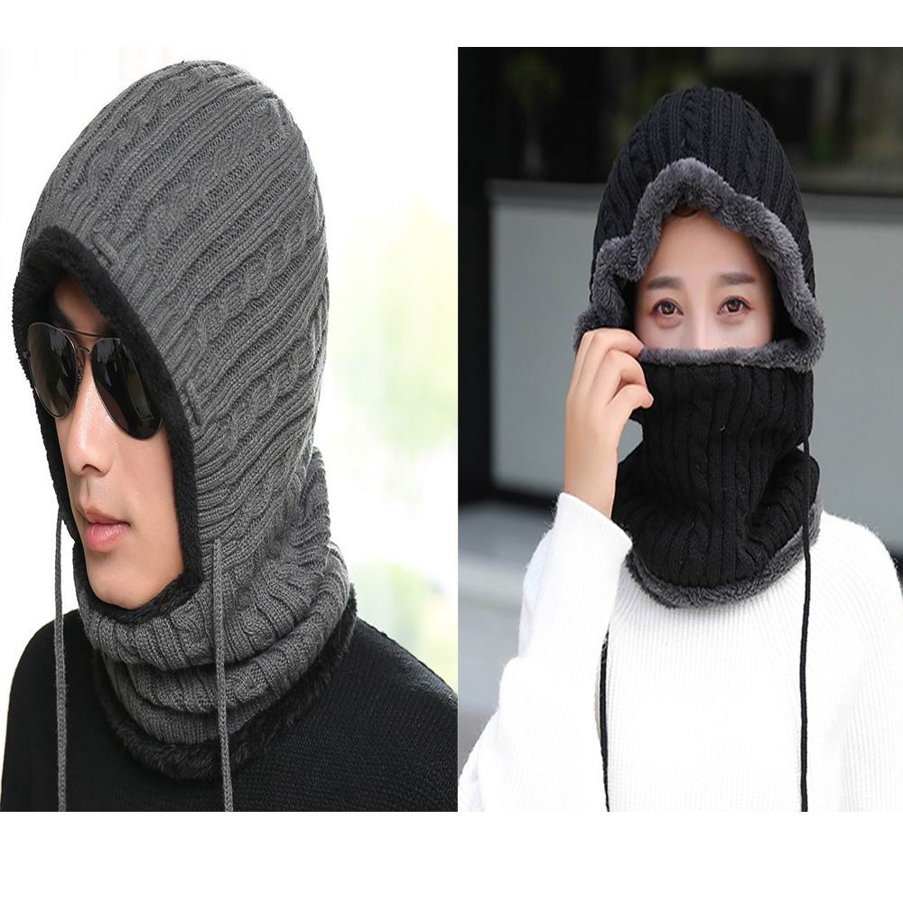 GBCNYIER Autumn And Winter Cap Scarf One-Piece Fixed Rope Fit For Outdoor Sport Riding Driving Thick Cotton Fluff Sets
