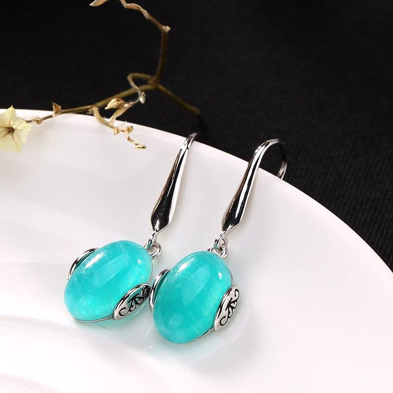 L P Elegant Real Silver Long Earrings for Women Natural Amazonite Dangle Hanging Earring 925 Sterling
