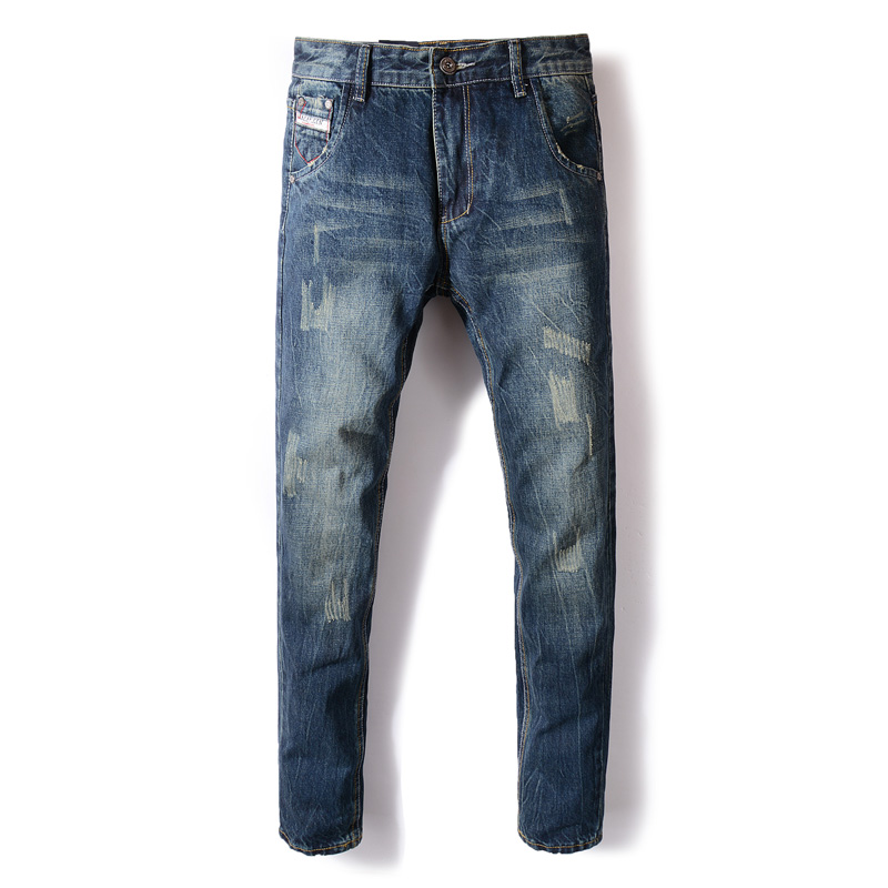 Fashion Autumn Winter Jeans Men Dark Blue Color Cotton Denim Ripped Jeans For Men Vintage Classical Men Jeans Casual Pants Homme