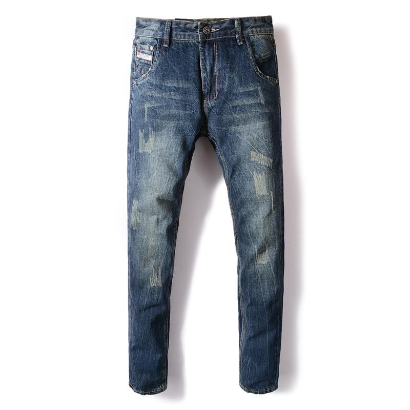 Fashion Autumn Winter Jeans Men Dark Blue Color Cotton Denim Ripped Jeans For Men Vintage Classical Men Jeans Casual Pants Homme