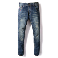 fashion autumn winter jeans men dark blue color cotton denim ripped for vintage classical casual pants homme