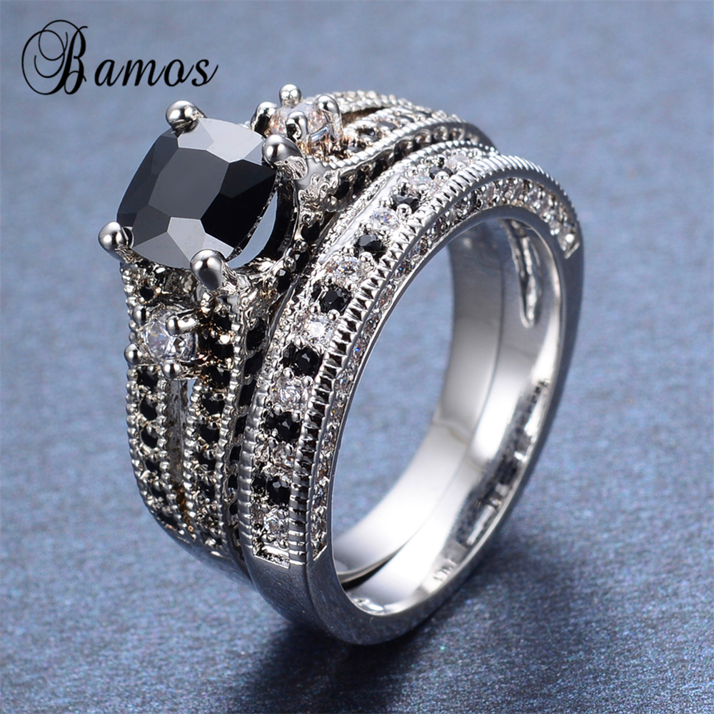 Bamos 2017 Gorgeous Male Female Black Ring Set Fashion 925 Silver Filled  Jewelry Promise Engagement Rings