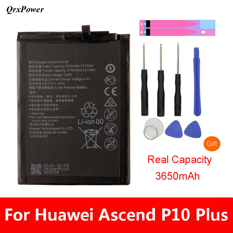 QrxPower Replacement Battery 3750mAh HB386589CW For Huawei P10 plus VKY-AL00 Honor 8X Play Nova 4 Mate20 Lite