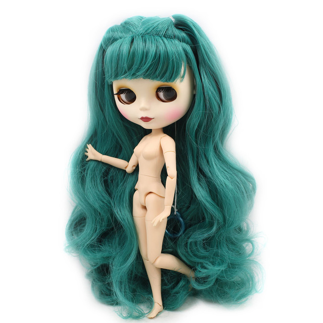 Nude Blyth Doll For Series No.280BL1206 Joint body Dusty Green hair Suitable For DIY Change BJD Toy Factory Blyth 5