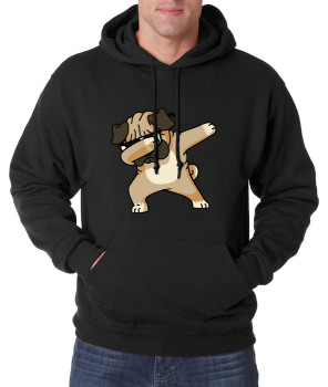 Animal Dabbing Pug Graphic Print Men's Hoodies