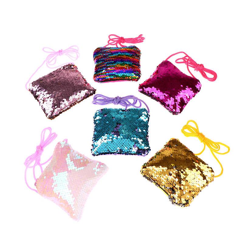 Lantejoulas 6 Cores Mudança Coin Purse Bolsas Crianças Saco de Embreagem Mini Crianças Meninas Crossbody Saco Do Mensageiro Saco de Ombro Do Bebê Presente