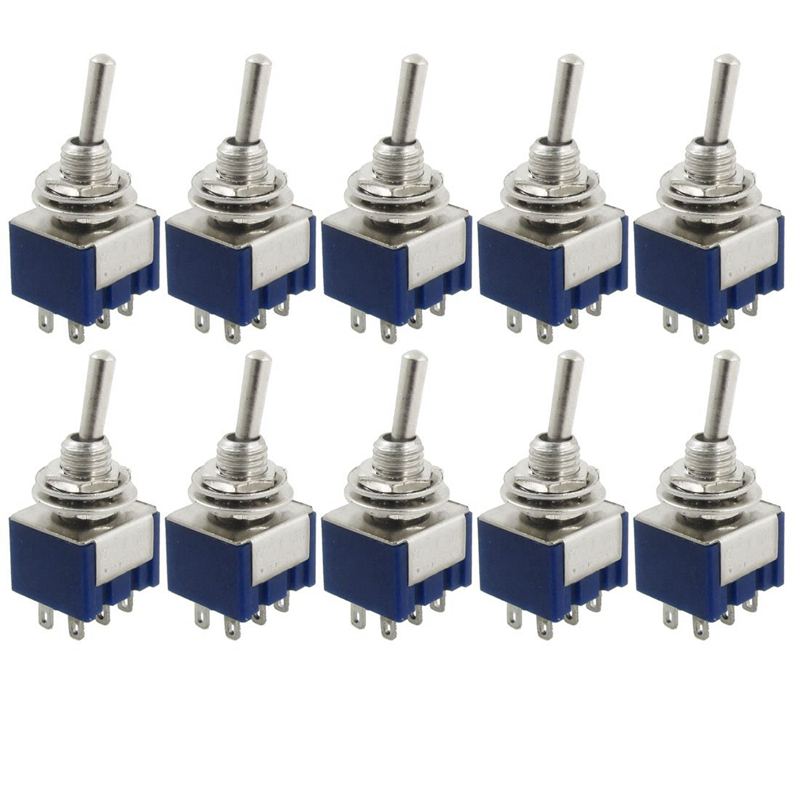 10 Pcs AC 125V 6A Amps ON ON 2 Position DPDT Toggle Switch 3 Position SPST Latching Mini Toggle Switch 6A 125VAC 3A 250VAC 1 in AC DC Adapters from Consumer Electronics