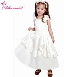 Александра Белый Кот атласная Платье в цветочек для девочек с ремешками милые девушки Платье для Первого Причастия платье принцессы для