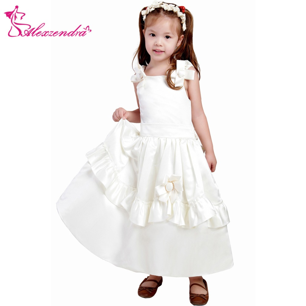 Alexzendra White Ivory Satin Flower Girls Dresses With Straps Cute
