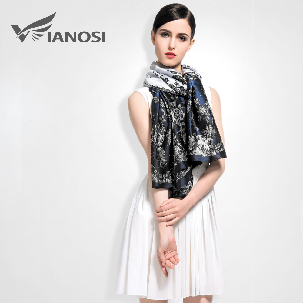 Buy Vianosi Brand Scarf Women Vintage Flower Design Silk Scarves Fashion