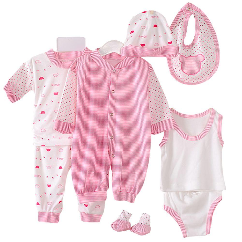 2017 Hot 8PCS Newborn Baby Cotton Striped Jumper+Hats+Socks+Bib+Tops+Pants Outfits 0-3M New Arrival