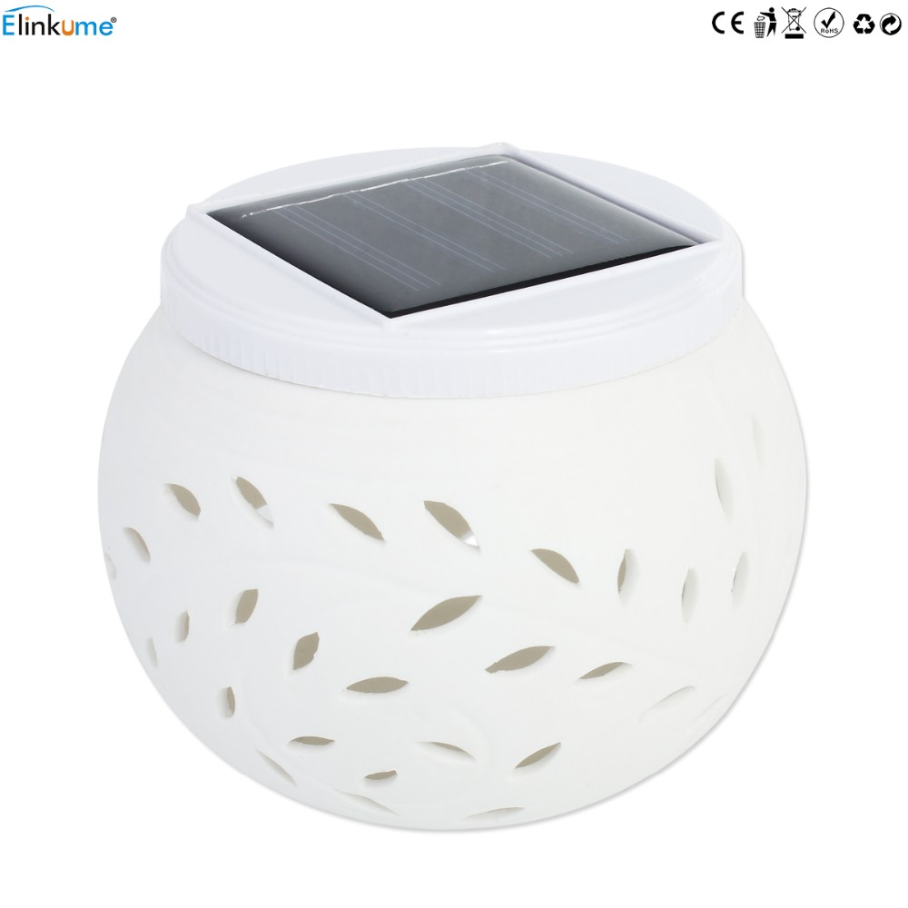 Elinkume Romantic Design Changing Colour Ceramic LED Solar Lamp IP44 waterproof Sun Powered Table Garden Round Light Sun Light 10