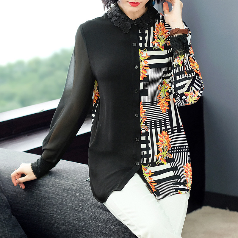 Chiffon Print water soluble lace collar Loose Straight Shirts 2019 New Women Spring Summer Office Lady Work Long Sleeve Blouse in Blouses amp Shirts from Women 39 s Clothing