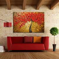 Modern 100% Hand Painted Canvas painting Art Work for Wall Decor Home Decoration Abstract Red Flower Oil Painting on Canvas Art