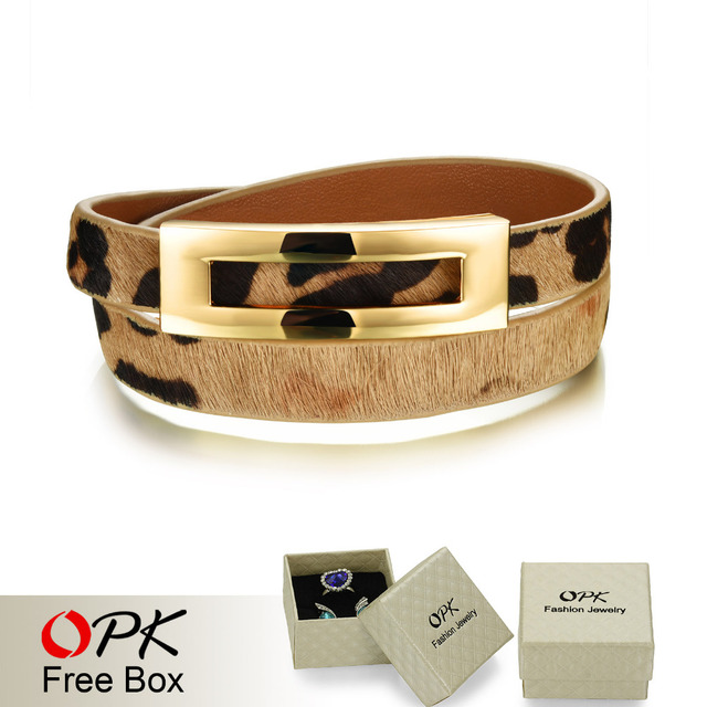 Woman Leather Wrap Bracelets Casual Black/Brown/Leopard Color Double Layer Leather Women Sporty Jewelry Bracelet PH1005
