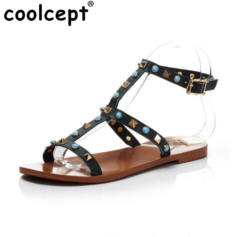 Coolcept Lady Real Leather Flats Sandals Summer Shoes Women Ankel Strap Vacation Flat Sandal Beach Party Footwears Size 34-39 stylesowner elegant lady pumps sandal shoe sheepskin leather diamond buckle ankle strap summer women sandal shoe