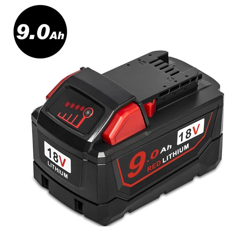 Новый 18 В красный литиевая высокий спрос 9.0Ah Перезаряжаемые Батарея для Милуоки 48-11-1890 M18 инструмент замены батарея