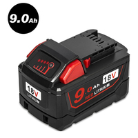 New 18V Red Lithium High Demand 9.0Ah Rechargeable Battery For Milwaukee 48 11 1890 M18 Replacement Tool Battery